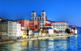 Preview wallpaper Germany, Bayern, Passau, river, houses, city