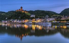 Alemania, Cochem, castillo, río, casas, luces
