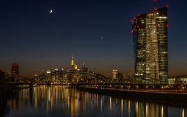 Preview wallpaper Germany, Frankfurt, bridge, river, night, illumination
