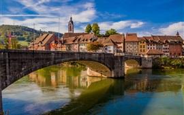 Alemanha, laufenburg, rio reno, cidade, ponte, casas