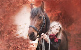 Preview wallpaper Girl and horse, autumn