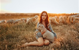 Preview wallpaper Girl and sheep, sunshine
