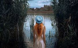Preview wallpaper Girl back view, hat, grass, pond