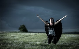 Preview wallpaper Girl, black wings, grass, angel