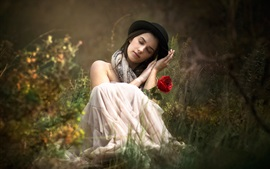 Preview wallpaper Girl, dream, red rose, grass