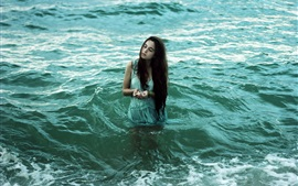 Preview wallpaper Girl in the sea, long hair, seashell
