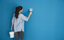Preview wallpaper Girl paint wall, blue