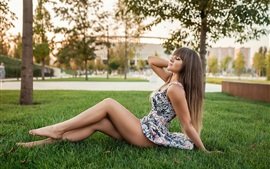 Preview wallpaper Girl sit on the grass, trees