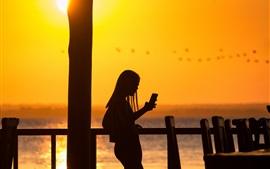 女の子、電話、シルエット、日没