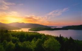 Греция, озеро Пластирас, деревья, закат