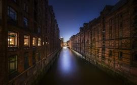 Hamburgo, Alemanha, cidade, arquitetura, rio, casas