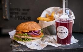 Preview wallpaper Hamburger, drink, food