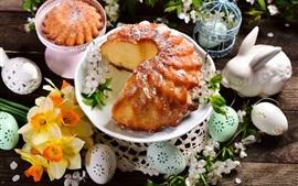 Счастливая Пасха, торт, нарциссы, яйца, кролик