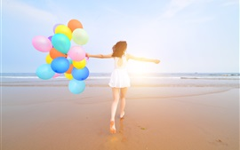 Preview wallpaper Happy girl, back view, beach, colorful balloons, summer