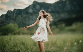 Preview wallpaper Happy little girl, skirt, grass, summer
