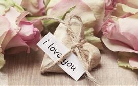Eu te amo, amor coração, rosas cor de rosa