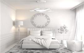 Diseño de interiores, dormitorio, cama, estilo blanco