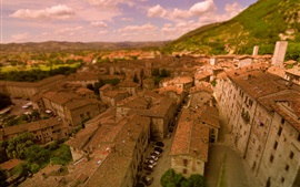 Preview wallpaper Italy, Gubbio, city, roof, cars
