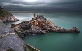 Italia, Portovenere, Liguria, mar, nubes