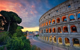 Preview wallpaper Italy, Rome, Colosseum, road, street, lights