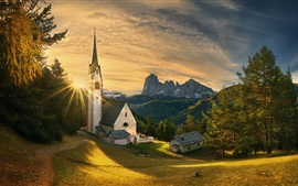 Preview wallpaper Italy, South Tyrol, Church, trees, mountains, sunset