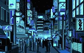 Vorschau des Hintergrundbilder Japan, Stadtstraße, Pixelkunst