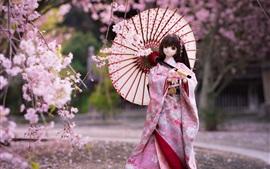 Японская кукла девушка, кимоно, зонтик, сакура цветут