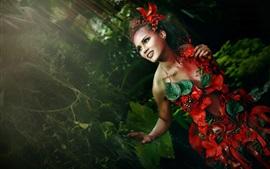 Chica de la selva, falda de flores, fotografía de arte