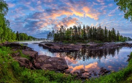 Preview wallpaper Kiiminki, Finland, trees, river, beautiful nature landscape