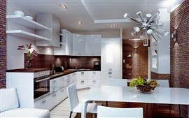 Kitchen, white style, dining room, interior
