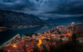 Preview wallpaper Kotor, Montenegro, bay, fjord, city, houses