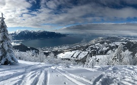 Preview wallpaper Lake Geneva, Switzerland, Alps, thick snow, mountains, winter