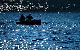 Lake, boat, people, glare, shine