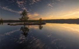 壁紙のプレビュー 湖、島、木
