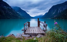 Preview wallpaper Lake, pier, water, mountains, flowers
