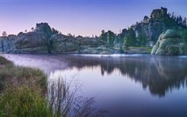 Lac, pierres, arbres, brouillard