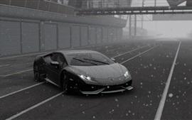 Lamborghini, superdeportivo, nieve, imagen en blanco y negro