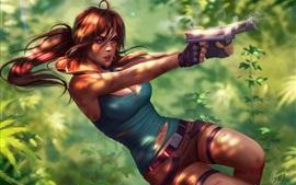 Лара Крофт, пистолет, рыжие волосы, гробница