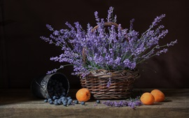 Preview wallpaper Lavender, flowers, basket, apricots, blueberries