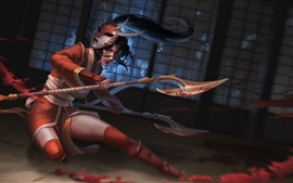 League of Legends, Akali, girl, mask, axes, blood