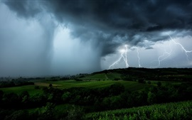 Lightning, black clouds, storm, fields