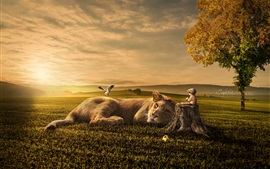 Preview wallpaper Lion, baby, friends, grass, tree, bird, creative design