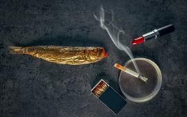 Preview wallpaper Lipstick, fish, cigarette, smoke