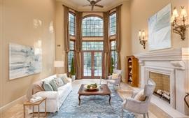 Aperçu fond d'écran Salon, canapé, cheminée, fenêtres