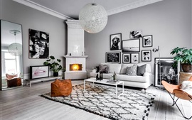 Living room, sofa, photos, fireplace, black and white style
