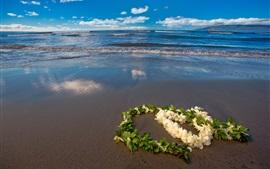 Amor corazón flores, playa, mar