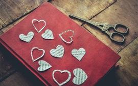 Love hearts, book, scissors