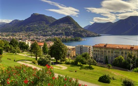 Preview wallpaper Lugano, lake, city, houses, mountains, Ticino, Switzerland