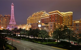 Preview wallpaper Macau, city night, tower, lights