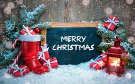 壁紙のプレビュー メリークリスマス、靴、ランプ、雪、贈り物